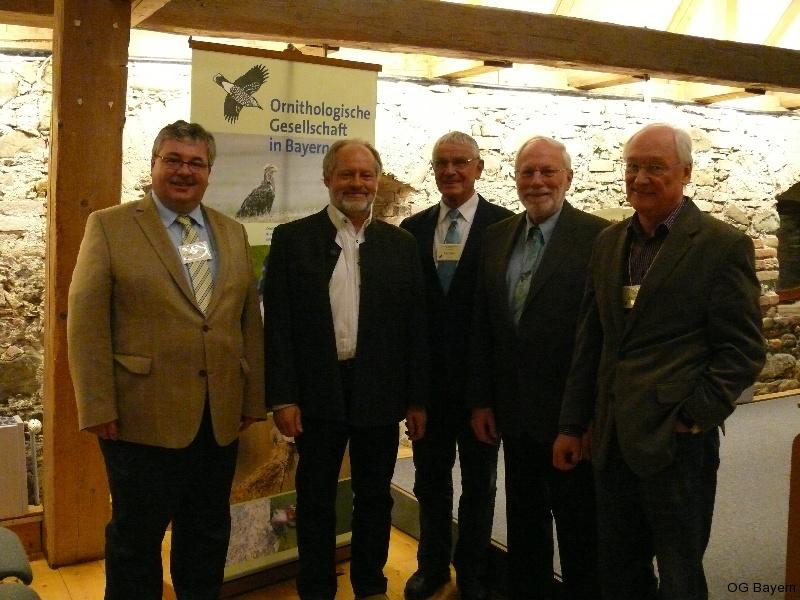 4. Bayerische Ornithologentage, der Vorstand der Ornithologischen Gesellschaft in Bayern e.V.: v. l. Robert Pfeifer, Klaus Rachl, Dr. Helmut Rennau, Manfred Siering und Jürgen Weckerle