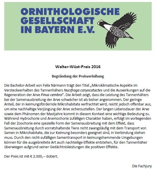Urkunde des Walter-Wüst-Preis 2016 der Ornithologischen Gesellschaft in Bayern e.V.