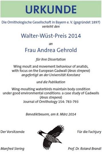 Urkunde Walter-Wüst-Preis 2014 der OGB